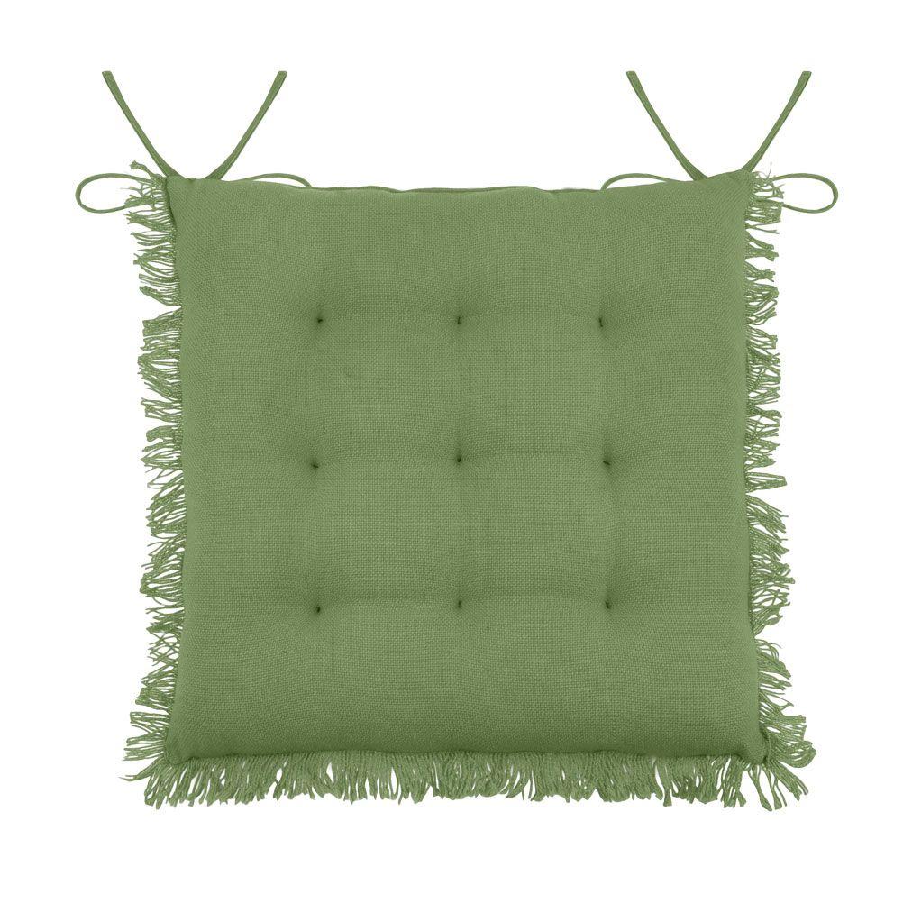 Coussin de chaise en coton vert à franges 40x40