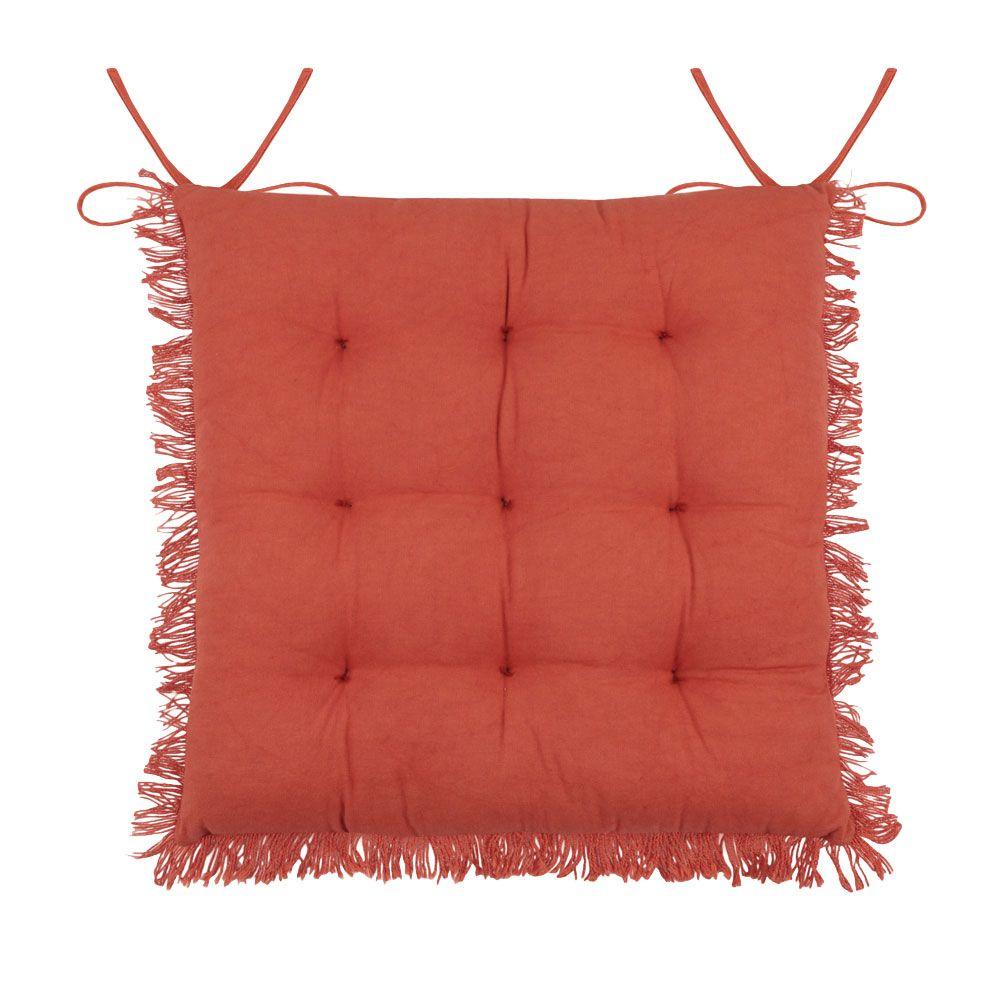 Coussin de chaise en coton terracotta à franges 40x40
