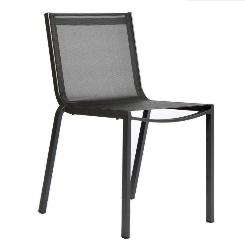 Chaise aluminium et textilène empilable gris anthracite