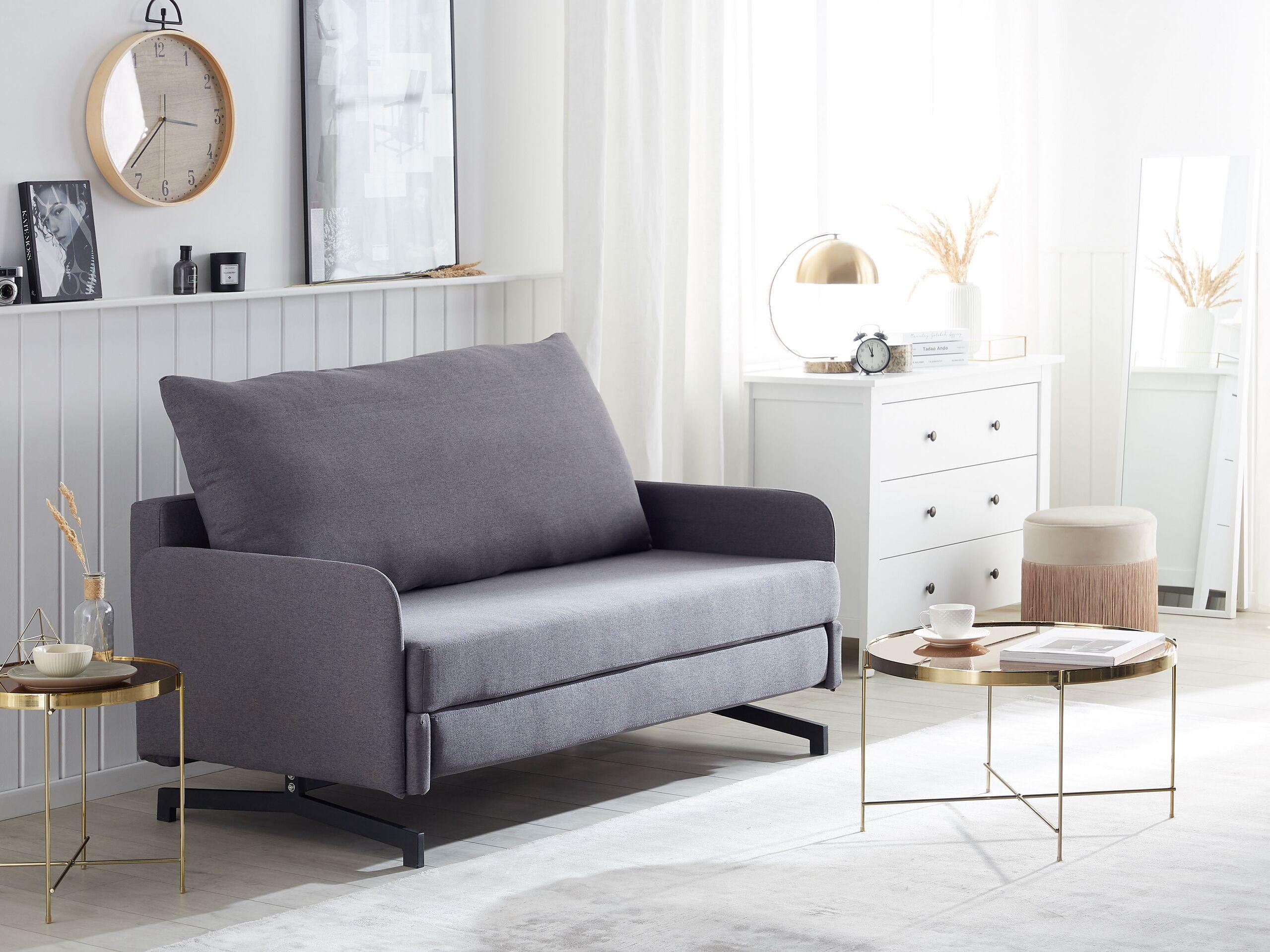 Canapé convertible 2 places en tissu gris