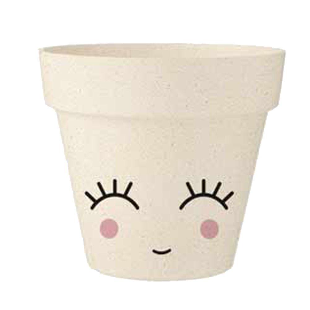 Cache pot sourire en bambou D9,5cm (photo)