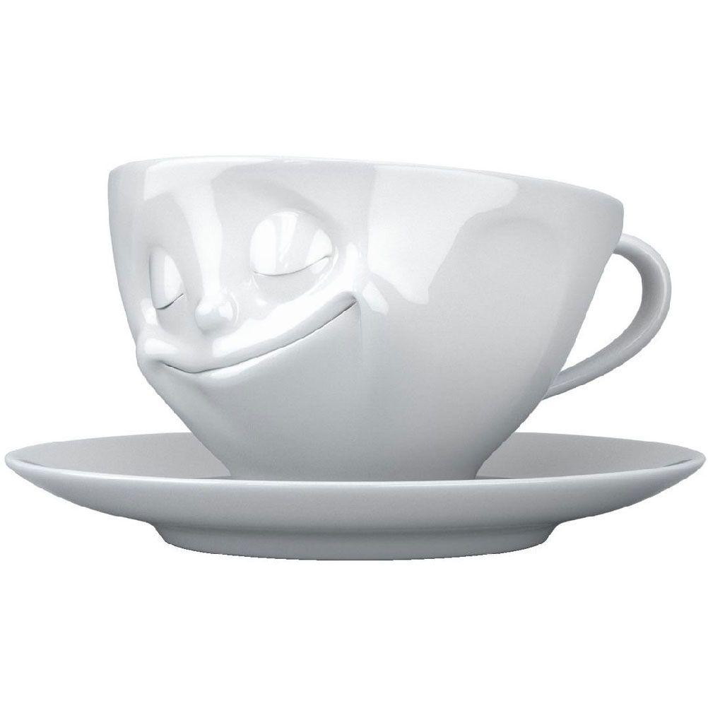 Tasse et sous tasse heureux en porcelaine 200ml