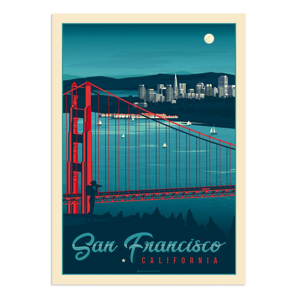 Affiche San Francisco by night  30x40 cm