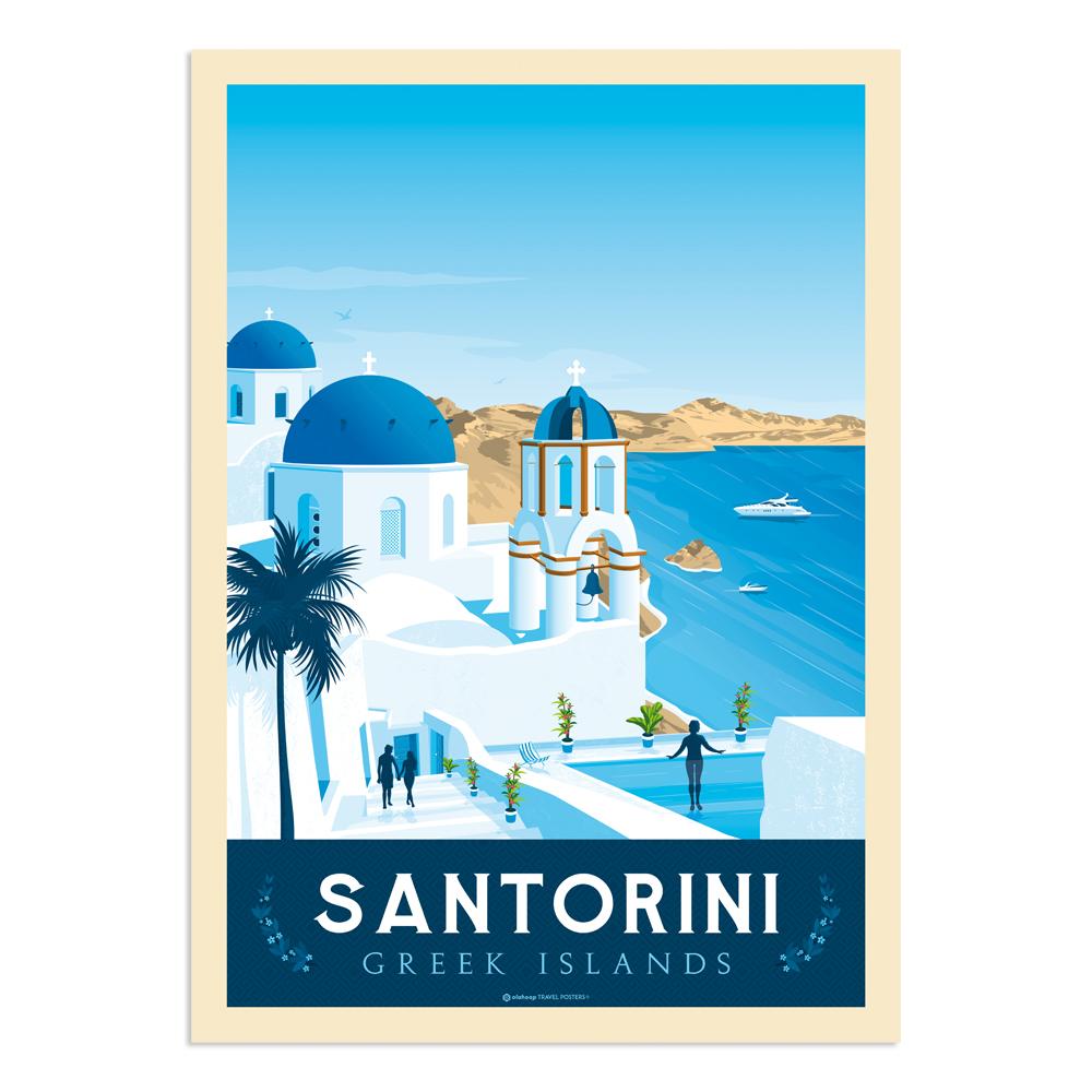 Affiche Santorin  50x70 cm