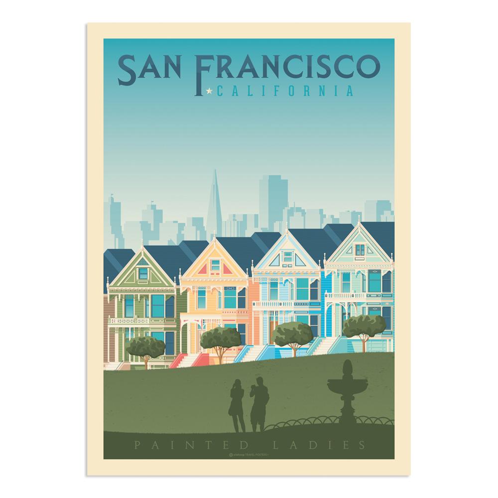 Affiche San Francisco Painted Ladies  50x70 cm