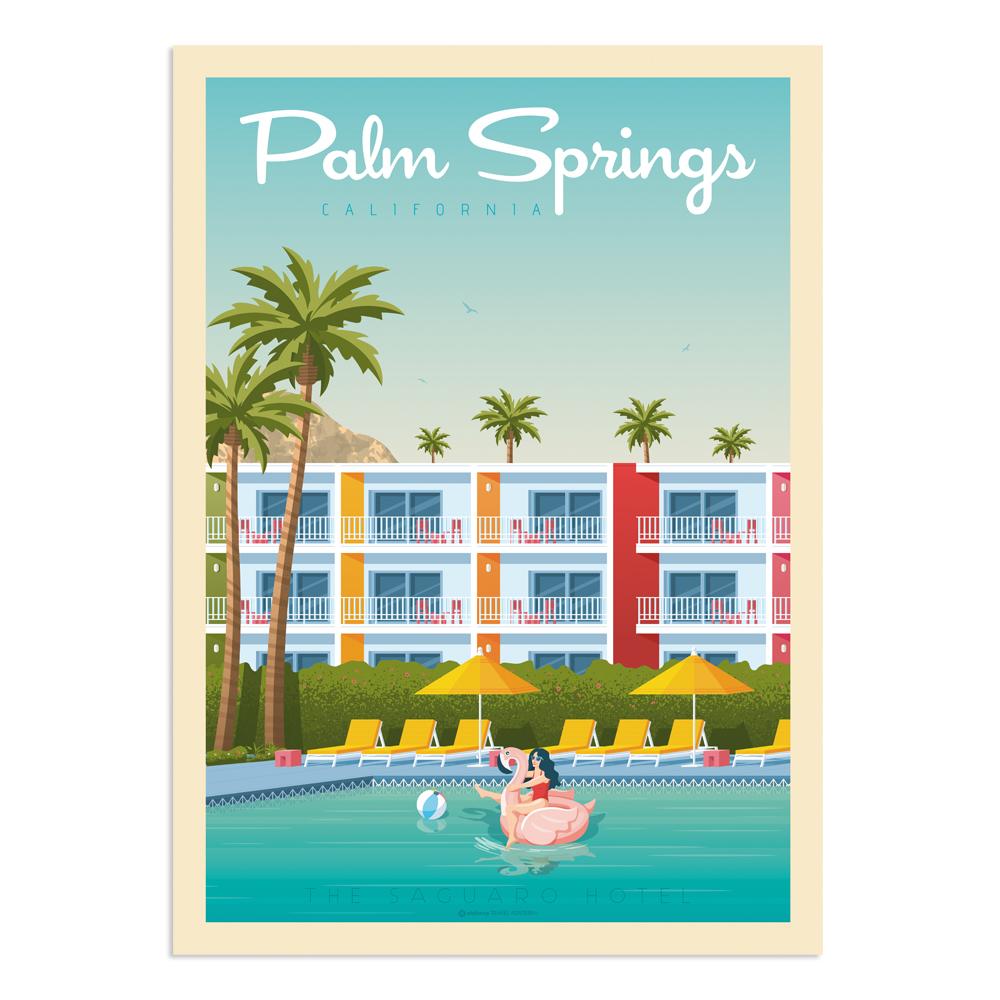 Affiche Palm Springs Saguaro Hotel 30x40 cm
