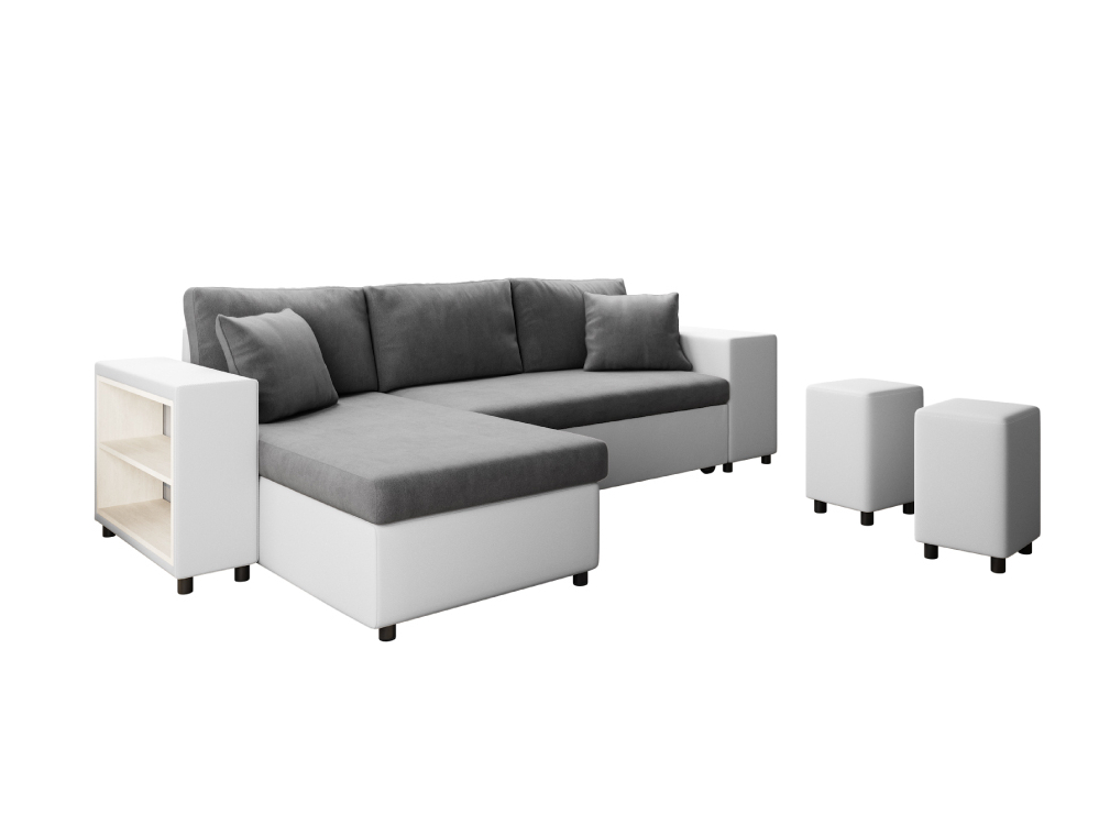 Canapé d'angle 3 places Blanc Simili Moderne Confort