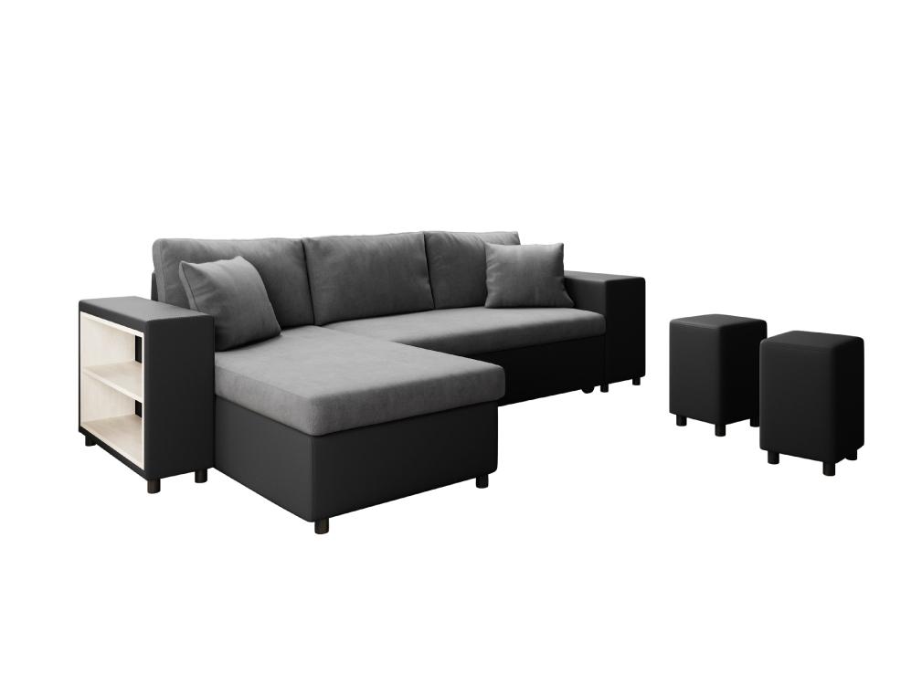 Canapé d'angle 3 places Noir Simili Moderne Confort