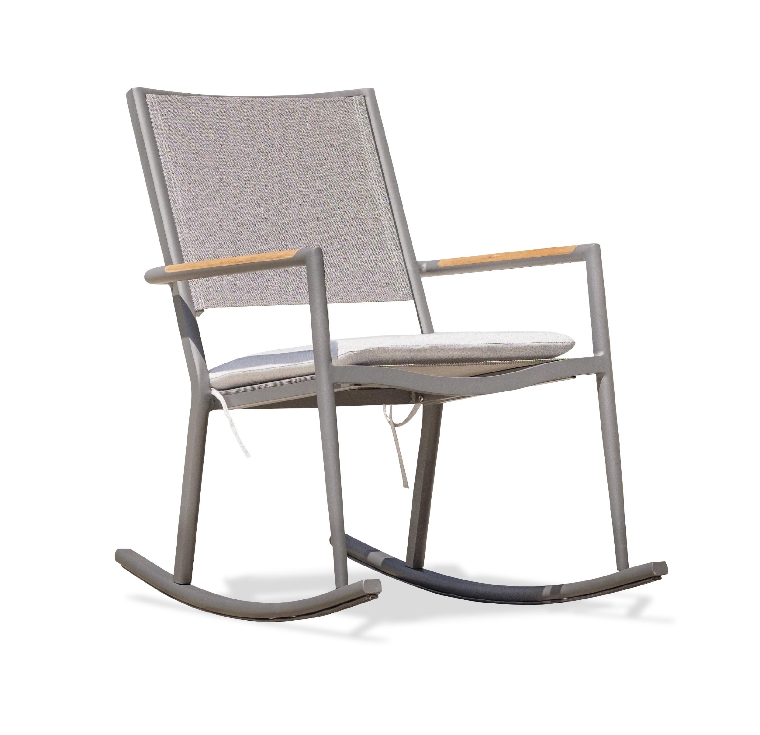 Rocking chair en toile plastifiée et aluminium gris anthracite