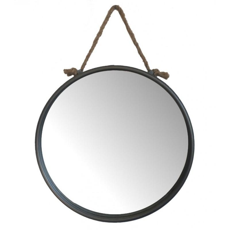 Miroir rond miroir industriel vintage retro avec corde mural