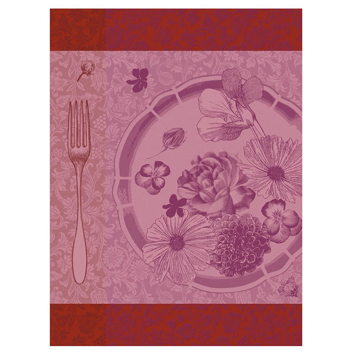 Torchon en coton fleur 60 x 80