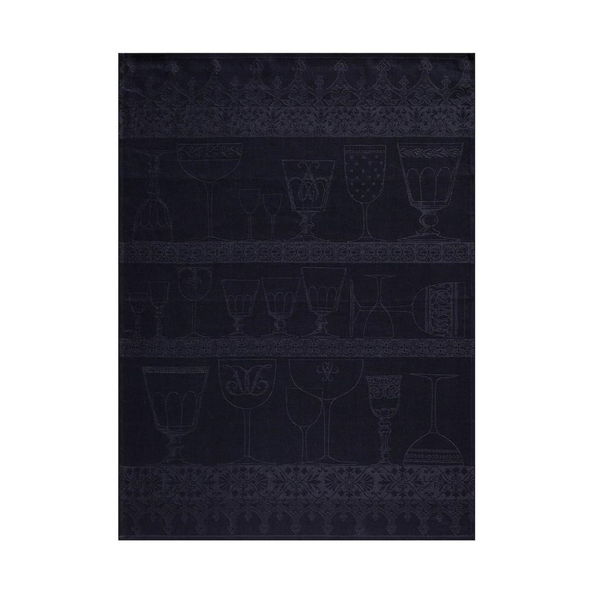 Torchon en lin noir 60x80