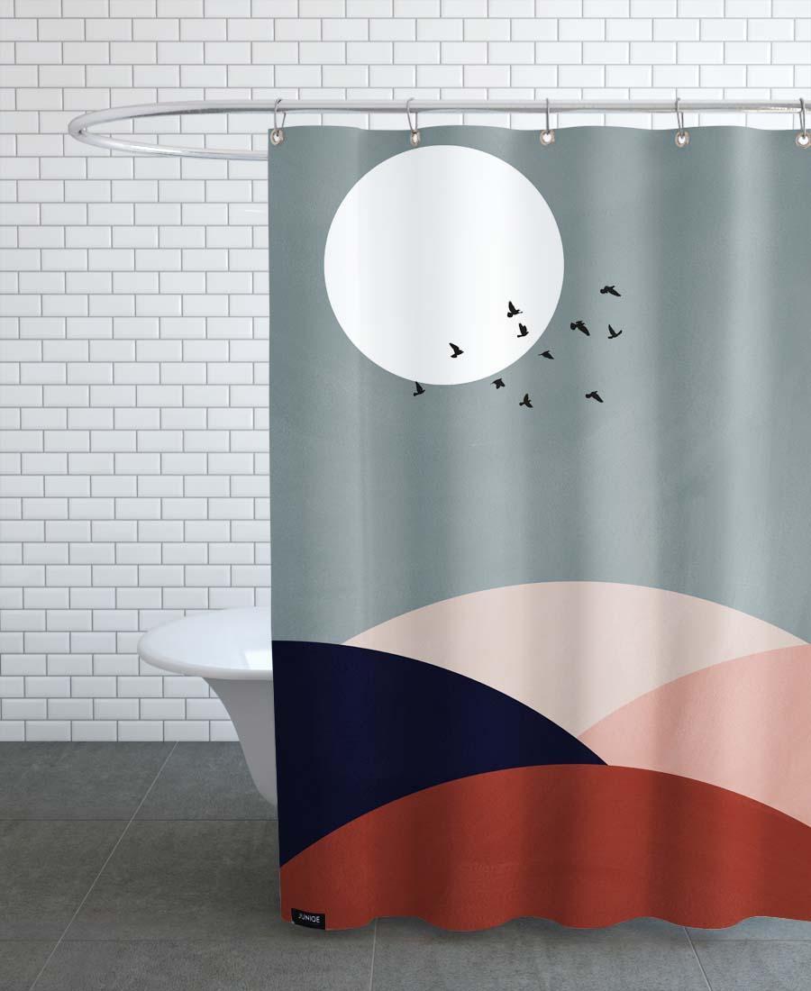 Rideau de douche en polyester en Gris & Rouge/150x200