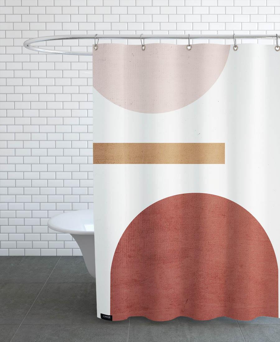 Rideau de douche en polyester en Marron & Rose/150x200