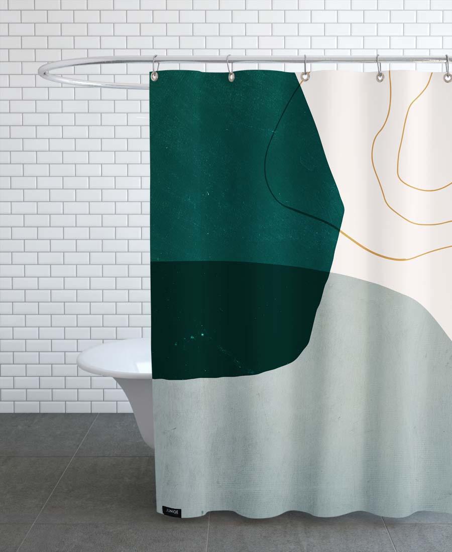 Rideau de douche en polyester en Gris & Vert/150x200