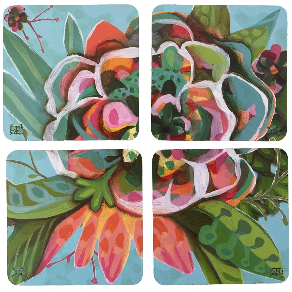 4 sous verres en bois et liège blooms 10x10cm