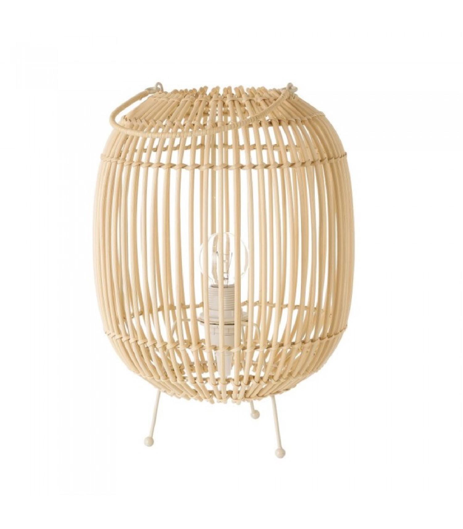 Lampe à poser en rotin et métal façon lanterne H30,5cm