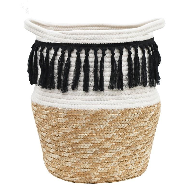 Cache-pot panier bicolore coton tressé avec poignées franges noir 36cm (photo)