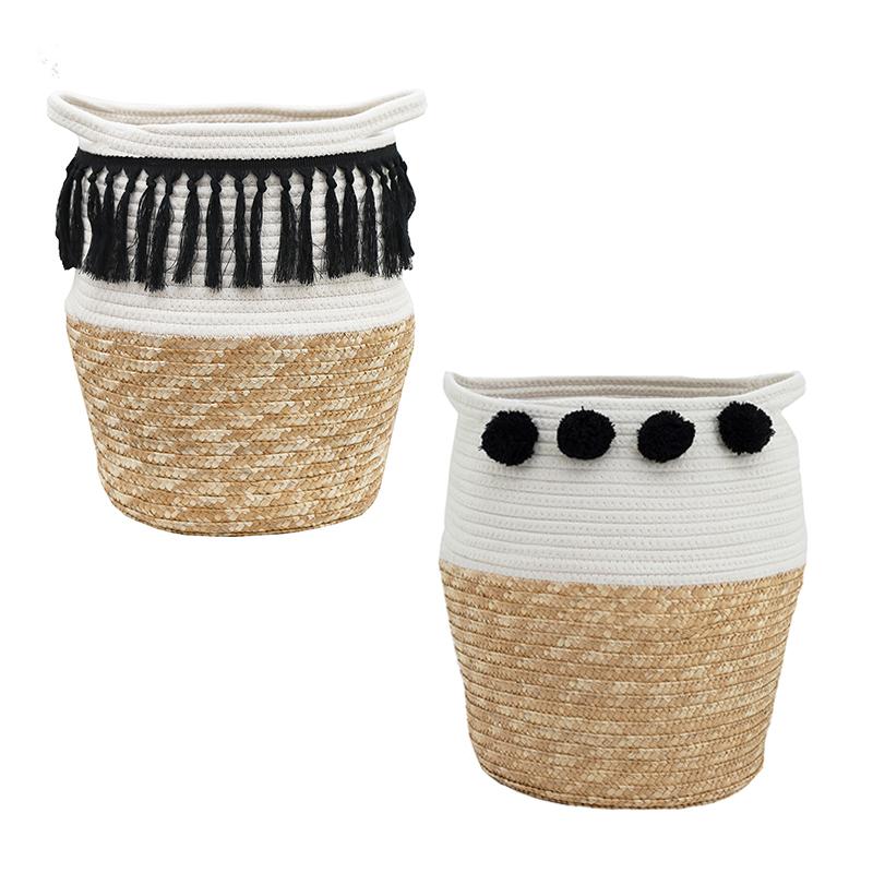 2 cache-pots coton tressé avec poignées frange et pompons noirs 36cm (photo)