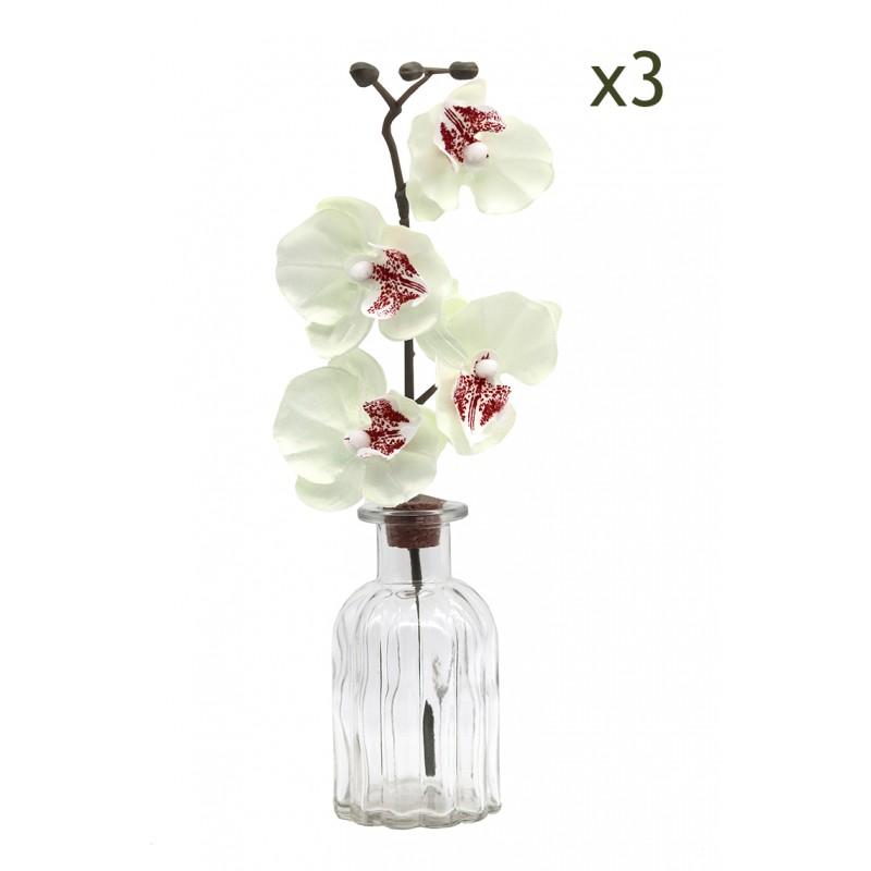 3 centres de table en verre + orchidée blanche artificielle 28cm