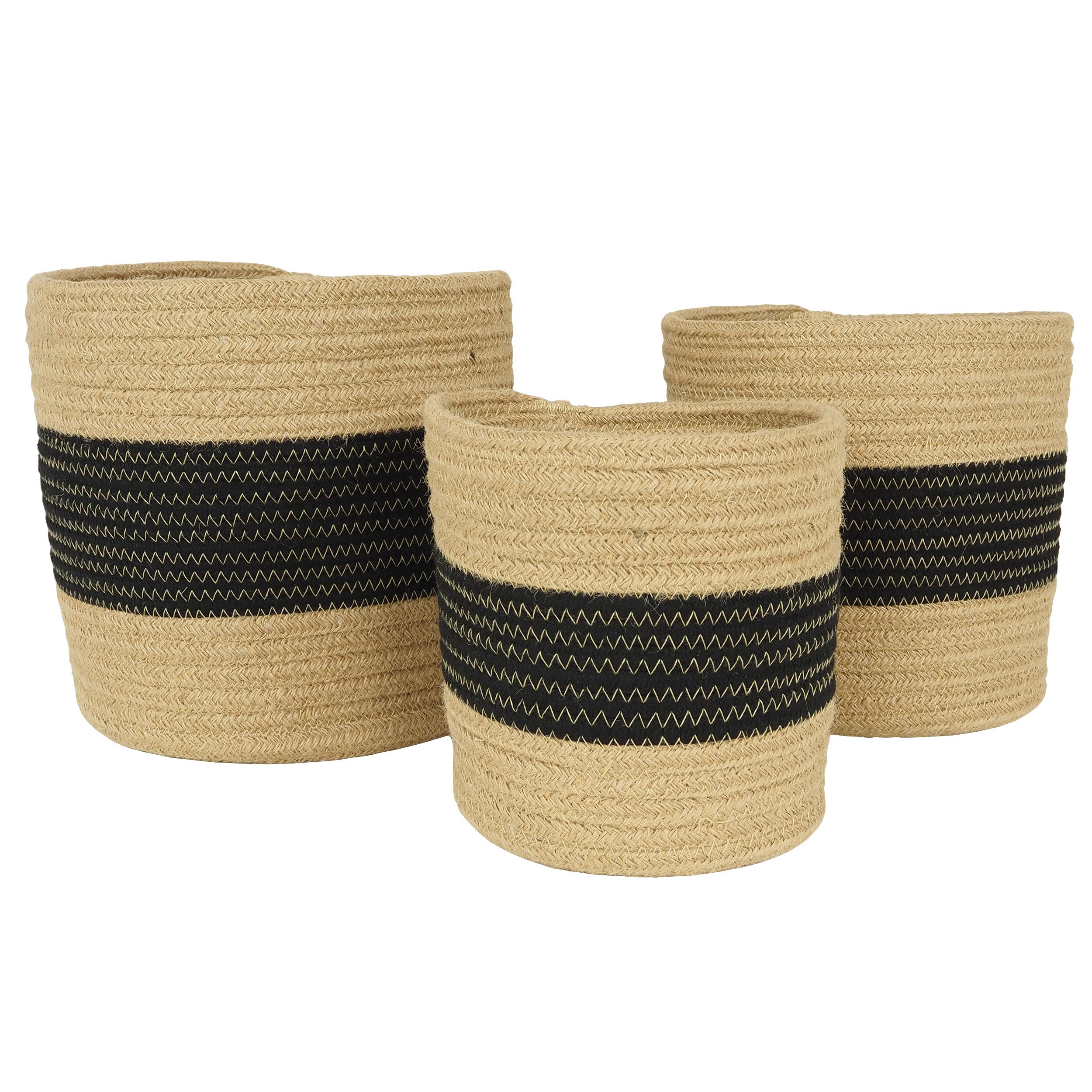 3 cache-pots panier tissé coton couleur naturelle et noir 17/21/23cm (photo)