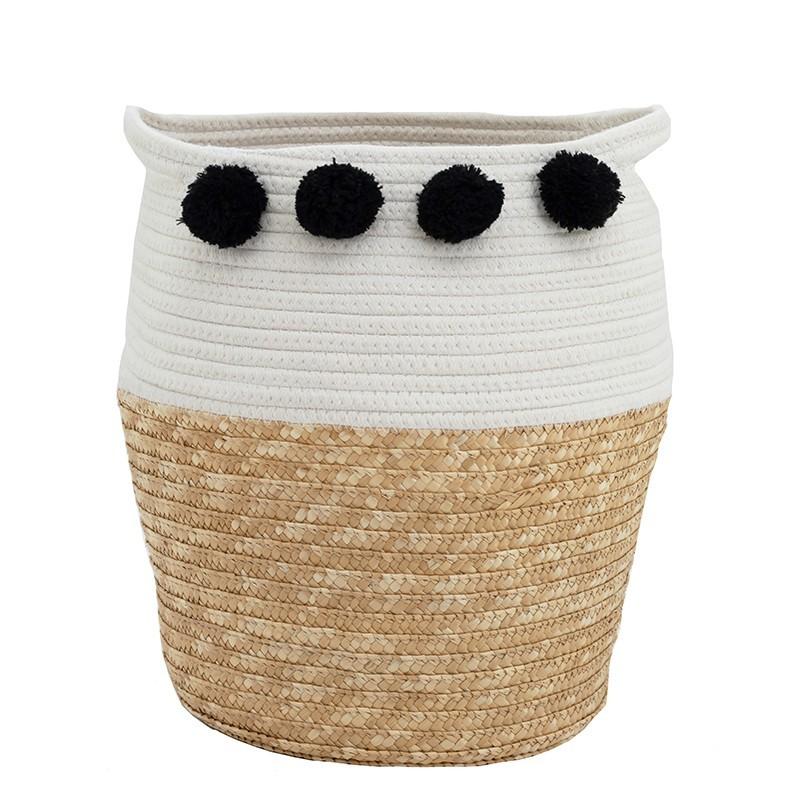 Cache-pot panier bicolore coton tressé avec poignées pompons noir 36cm