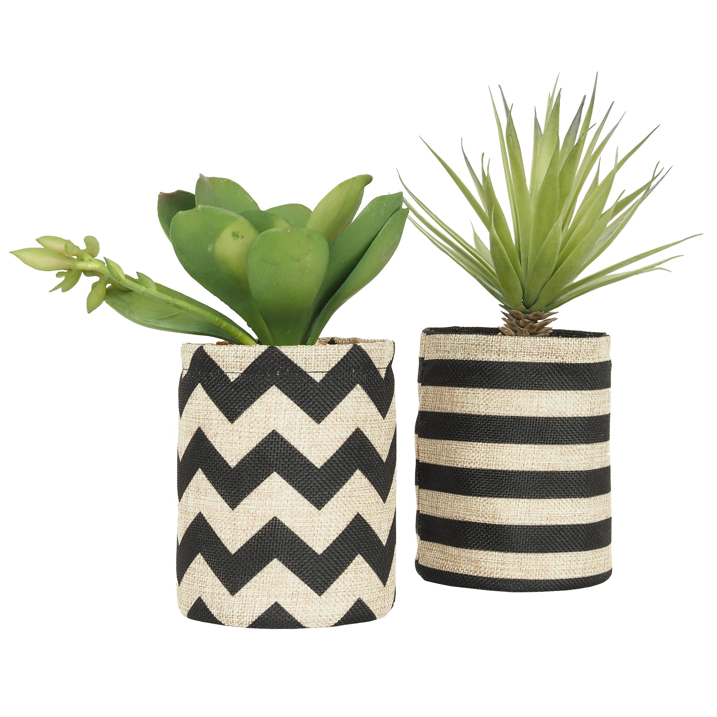 2 Succulentes artificielles assorties + sacs en toile de jute 26cm