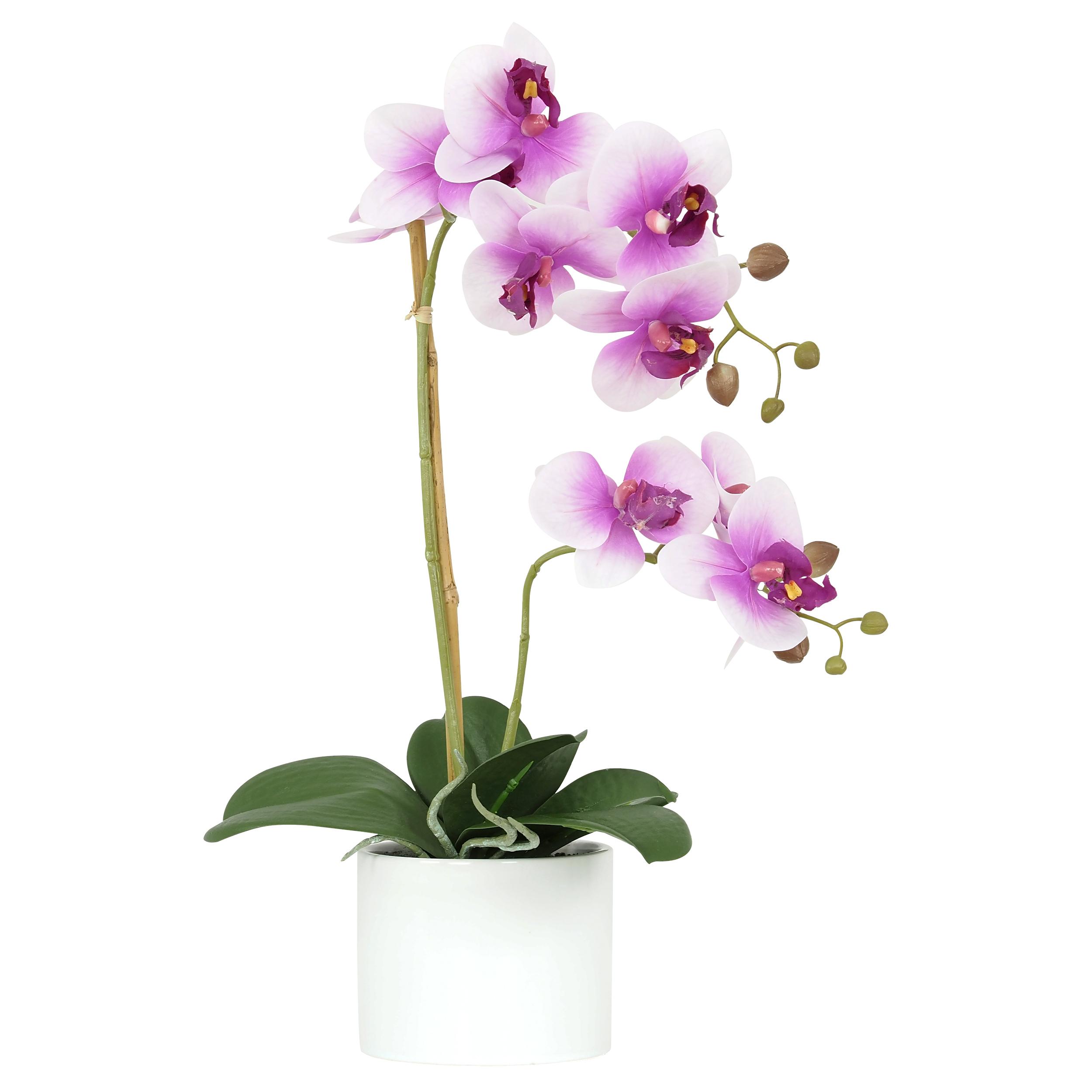 Orchidée fuchsia artificielle toucher naturel pot céramique rond 58cm