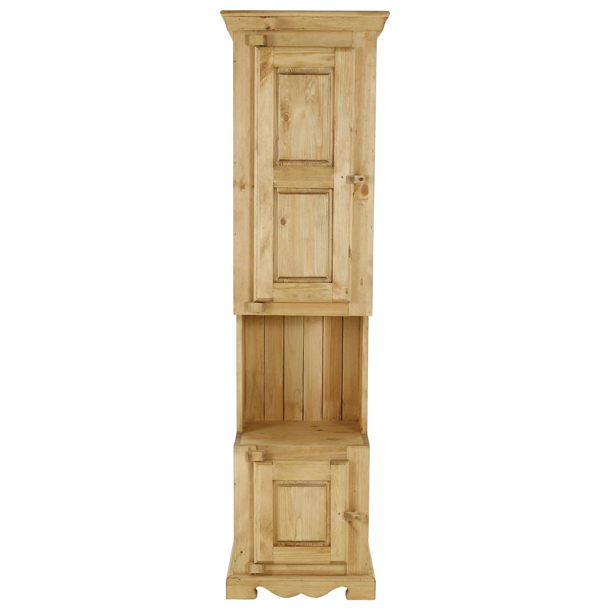 Colonne rustique en pin massif 2 portes + 1 niche ouverture gauche