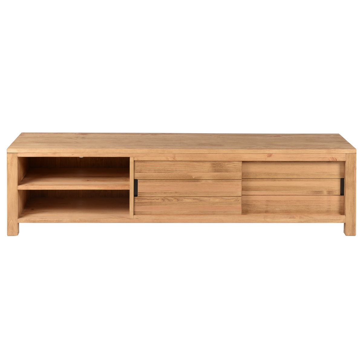Meuble TV 160 cm pin massif 2 niches 2 portes coulissantes gamme