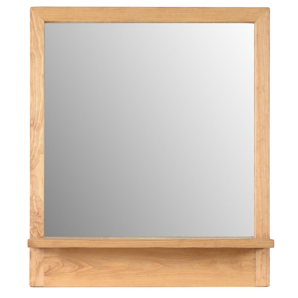 Miroir 90 cm pin massif avec tablette
