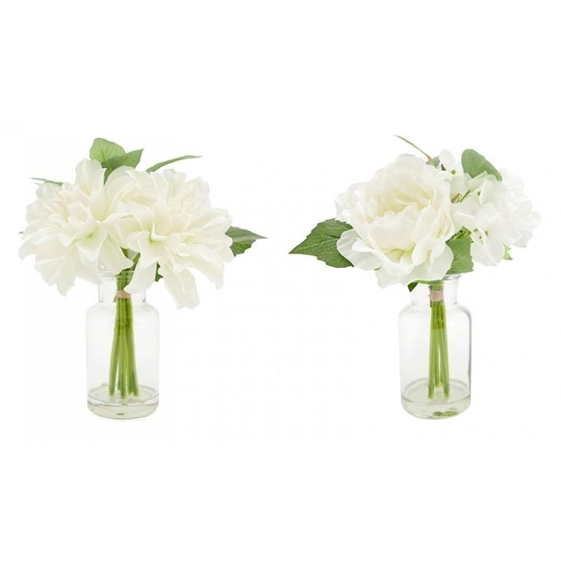 2 vases en verre + mini bouquets artificiels dahlia/pivoine 17cm