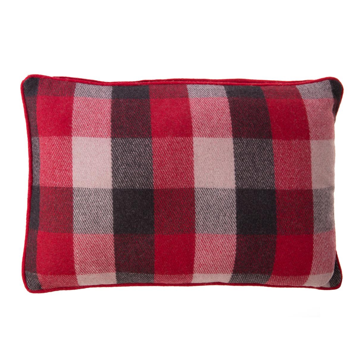 Housse de coussin rectangulaire 60 x 40 cm en laine rouge Ormel