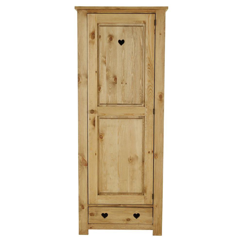 Bonnetière rustique pin massif avec coeur 1 porte + 1 tiroir (photo)