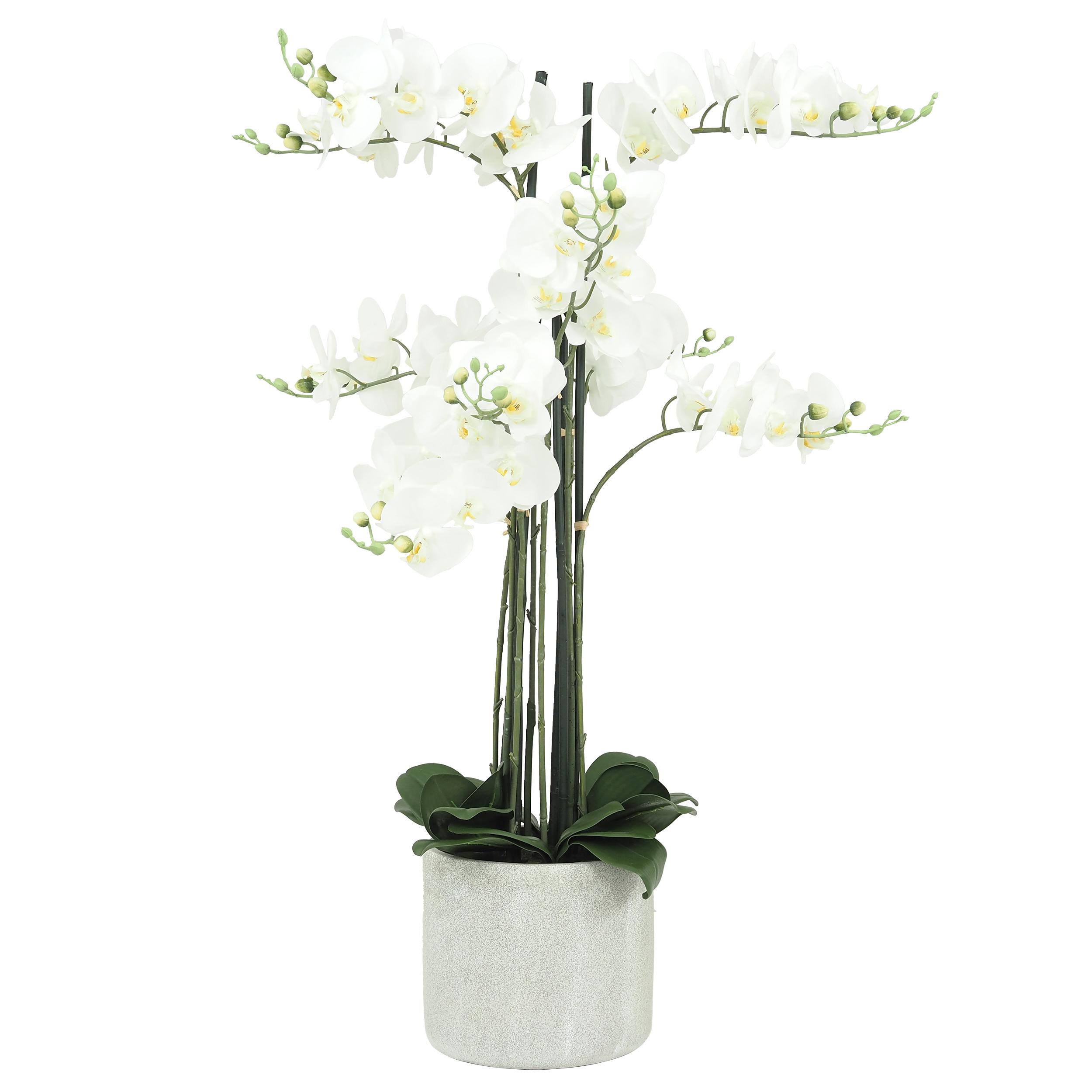 Orchidée blanche géante artificielle 9 branches pot ciment 105 cm