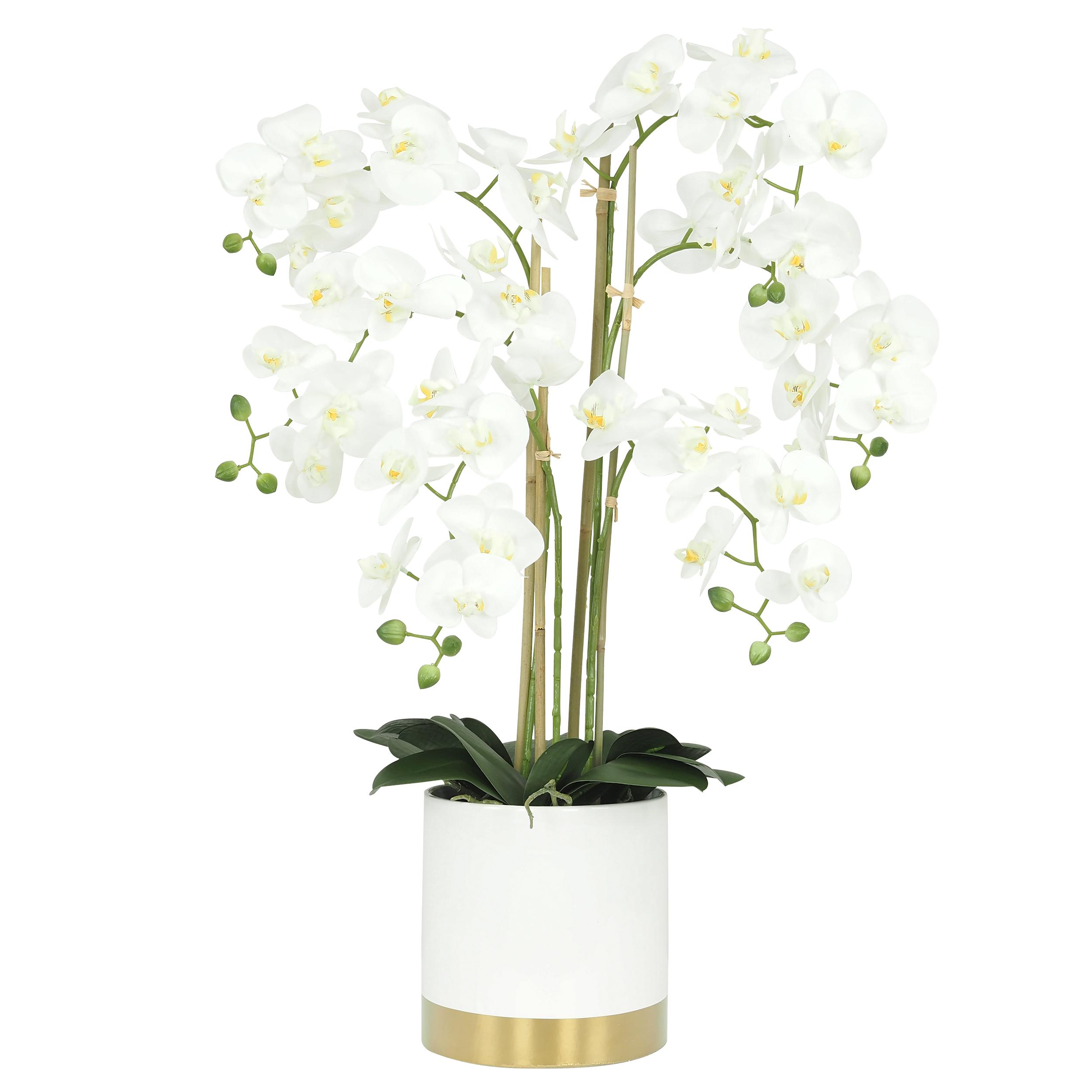 Orchidée blanche géante artificielle pot céramique blanc/or 80 cm