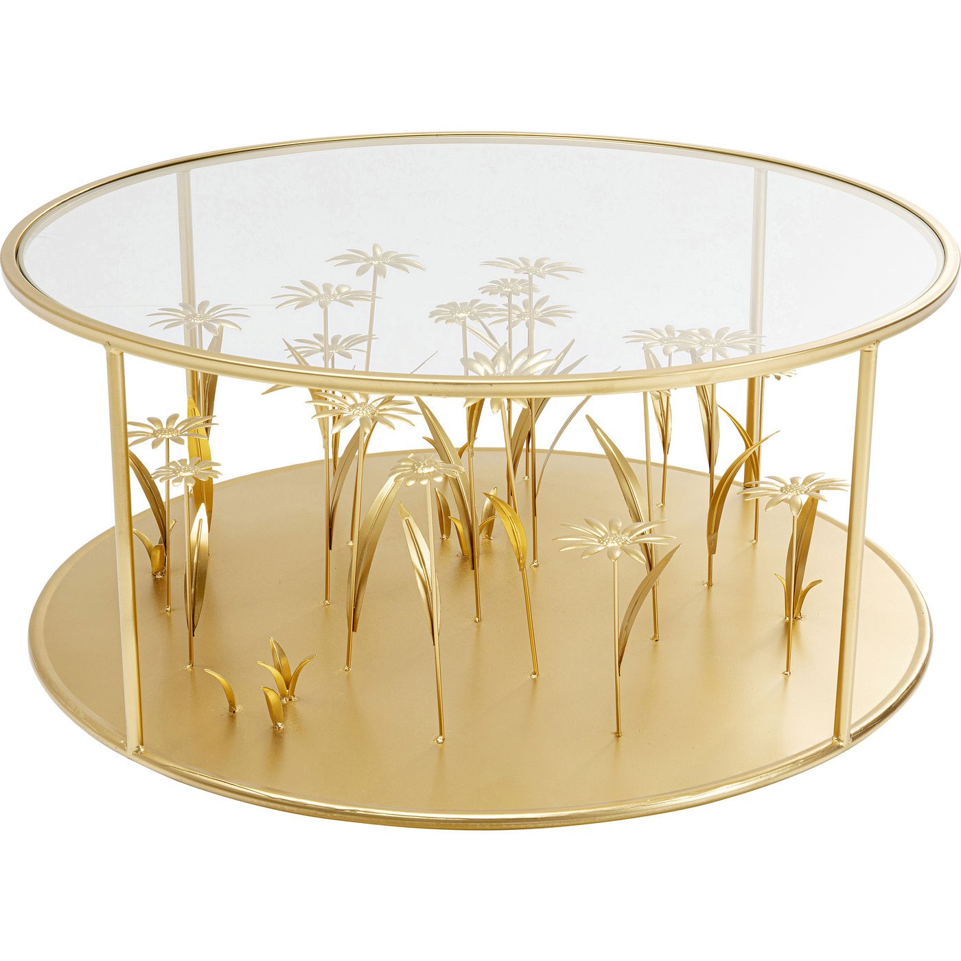 Table basse ronde en verre et acier doré fleurs en relief D80