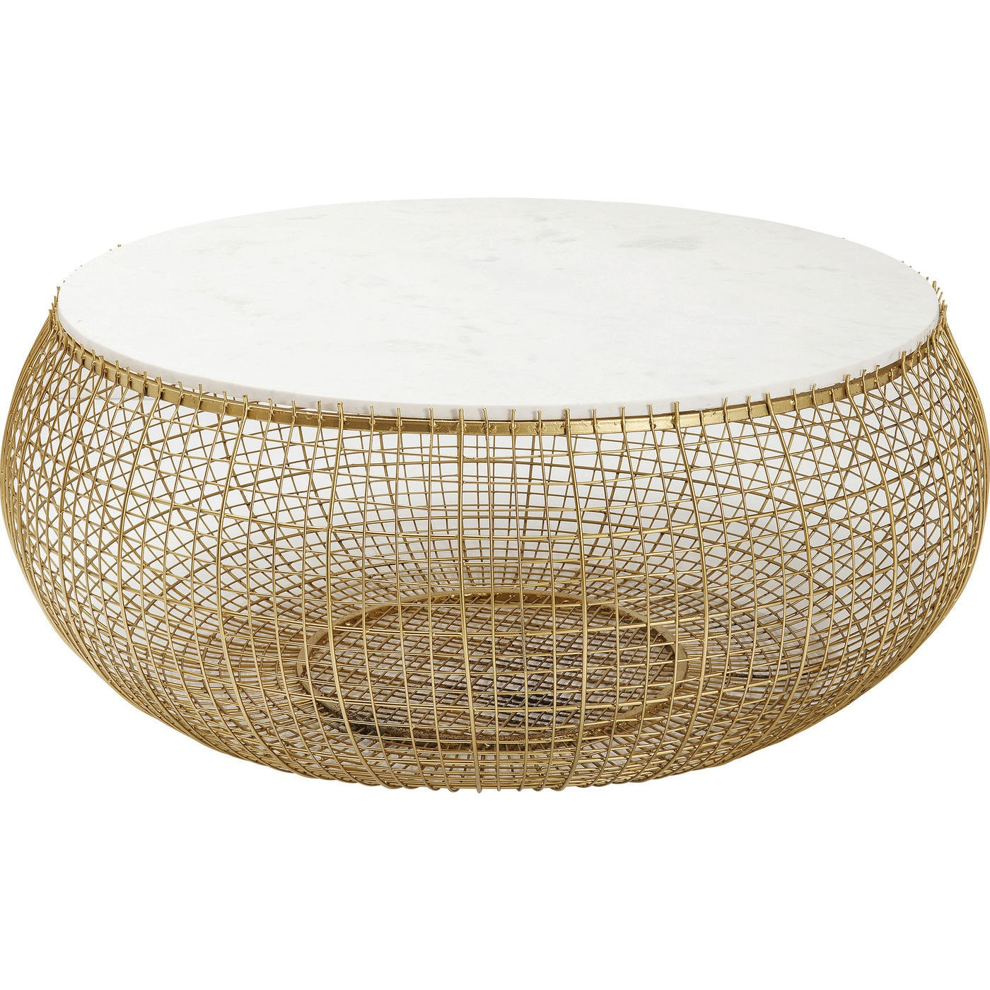 Table basse ronde en marbre blanc et acier doré