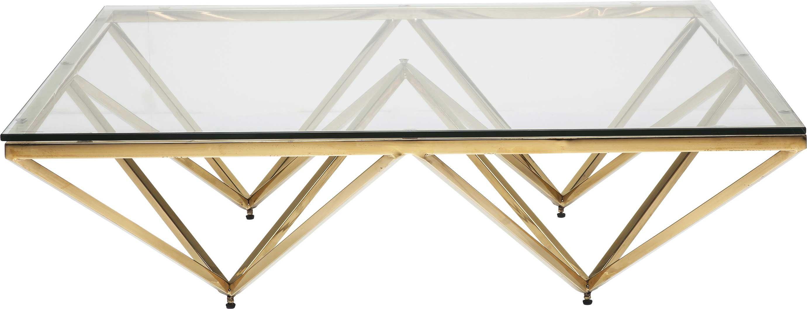 maison du monde Table basse carrée en acier doré et verre