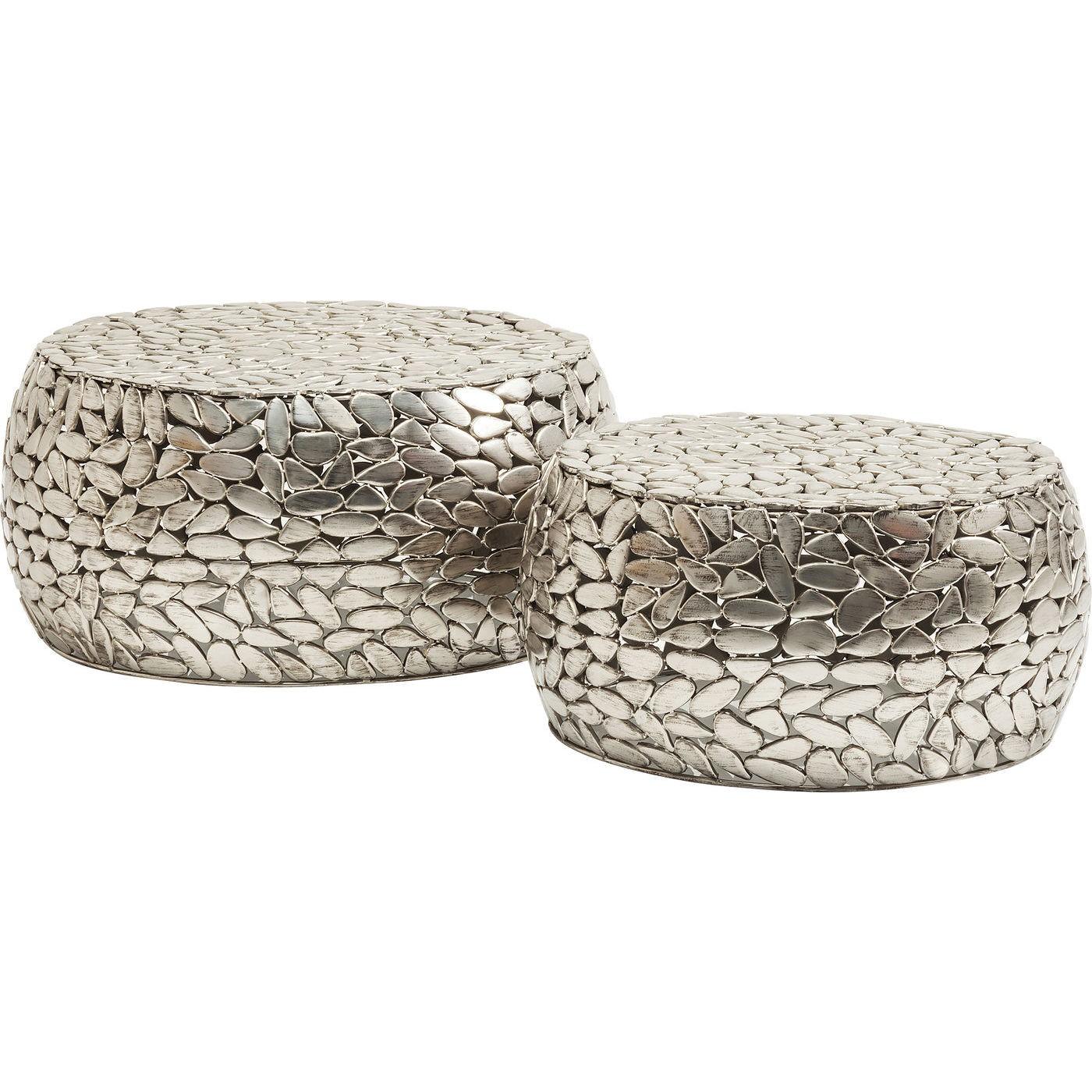 2 tables basses rondes en acier
