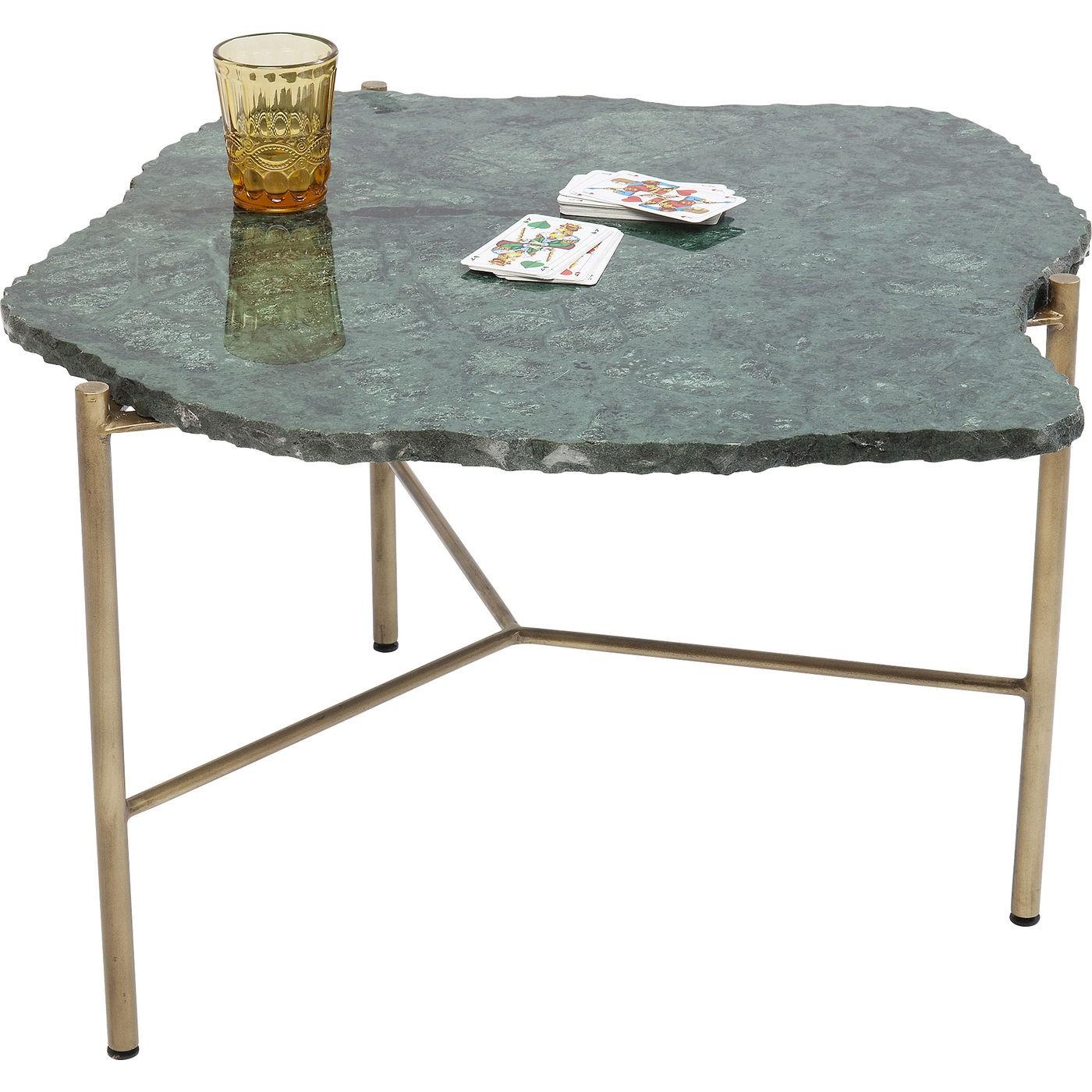 Table basse en marbre vert et acier