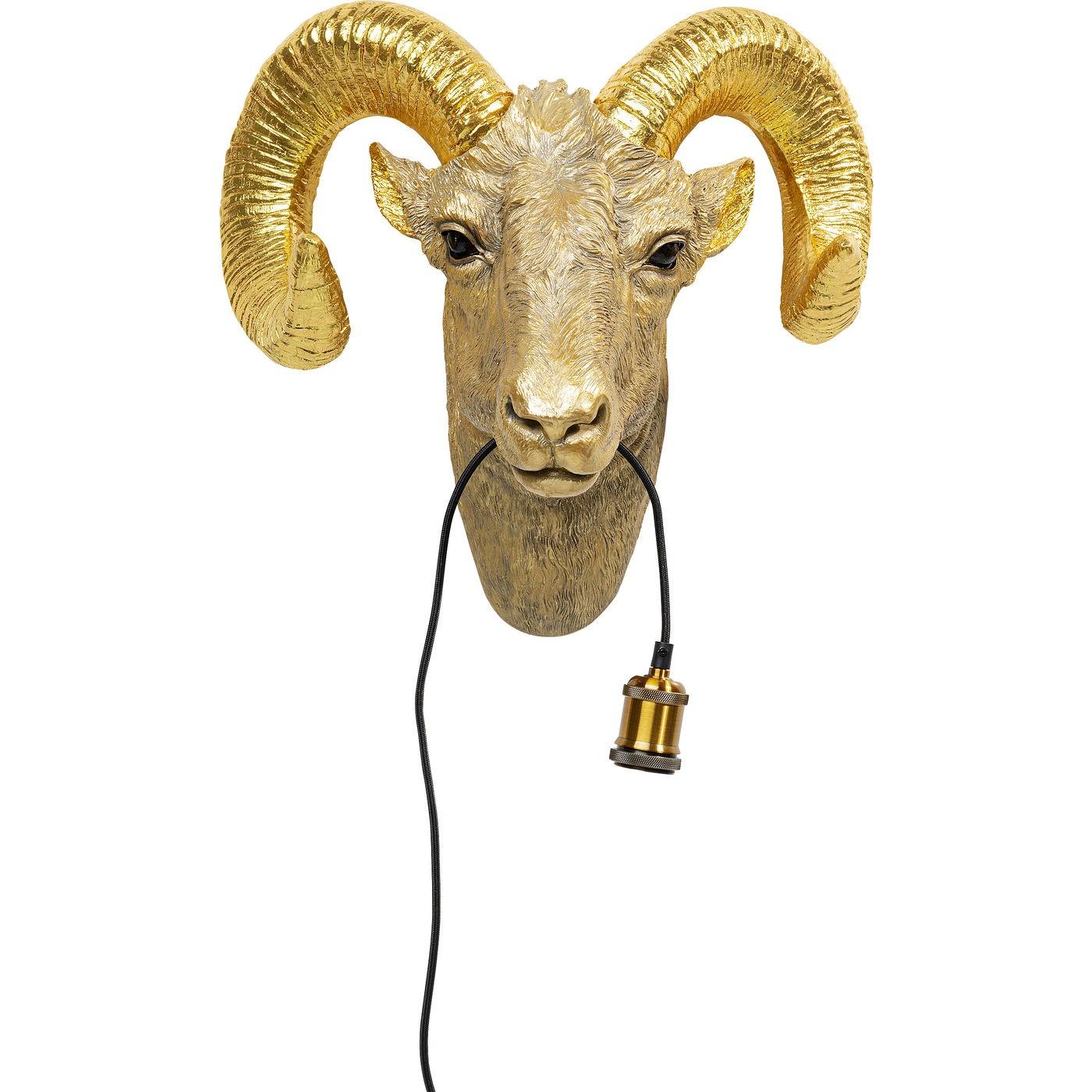 Applique chèvre en polyrésine dorée