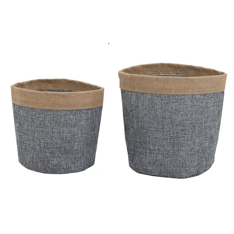 Lot de 2 cache-pots tissu/revers jute intérieur plastifié 16/20cm