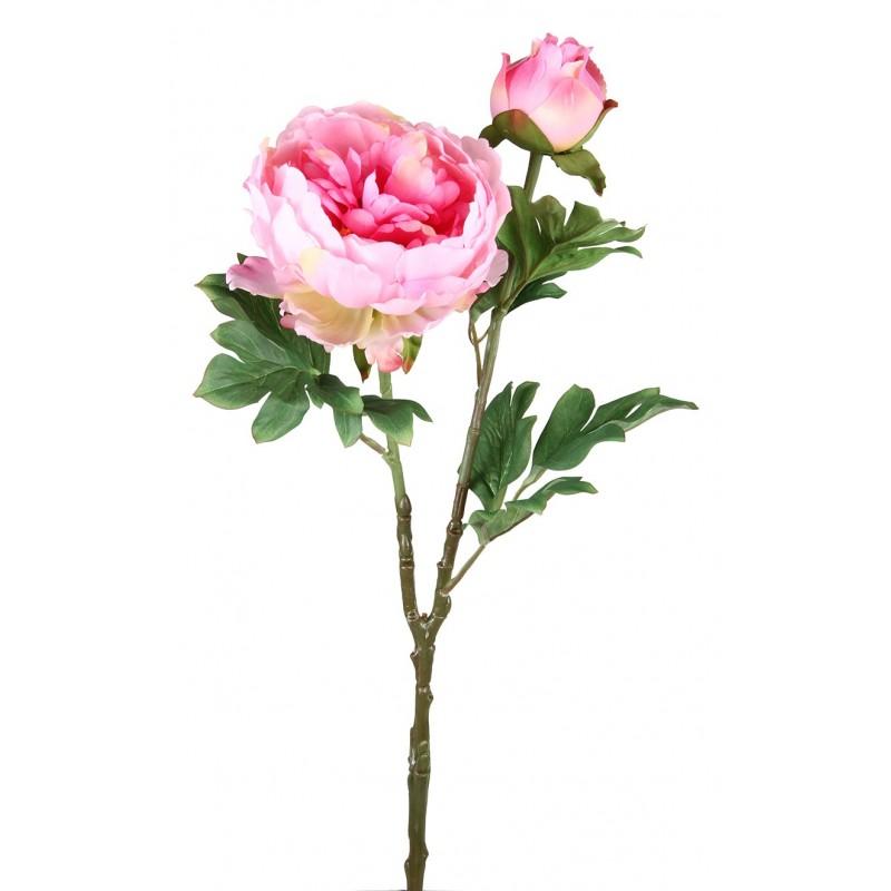 3 branches Pivoines roses artificielles 69cm