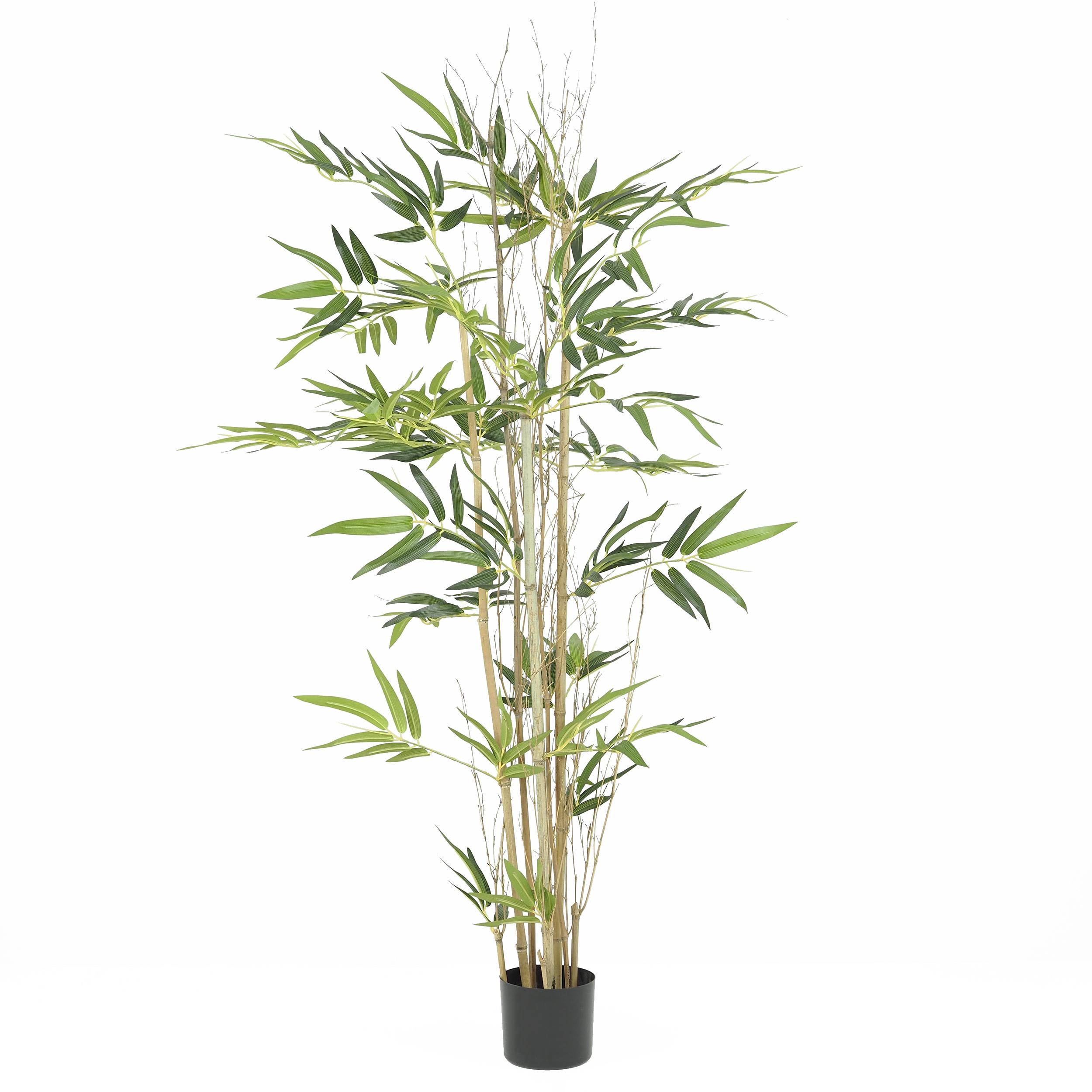 Bambou 3 troncs naturels + 336 feuilles artificielles pot noir 150cm