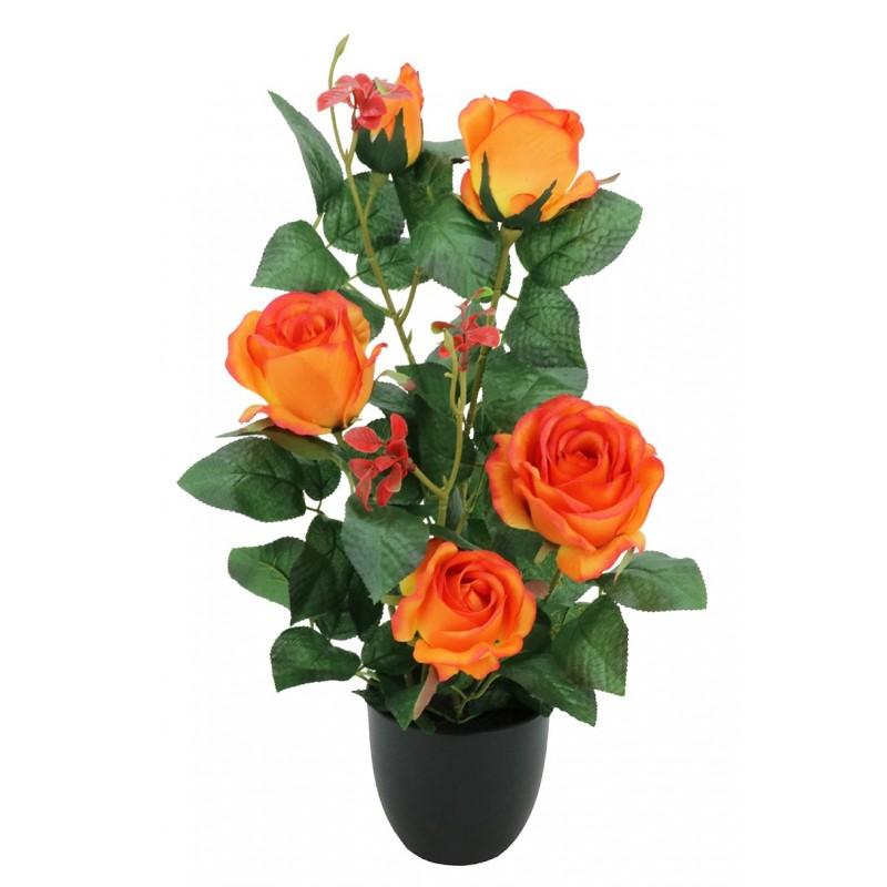 Rosier artificiel orange pot noir 4 fleurs + 1 bouton de rose 50cm