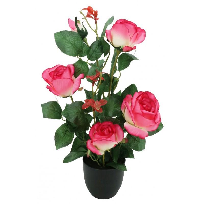 Rosier artificiel rose pot noir 4 fleurs + 1 bouton de rose 50cm