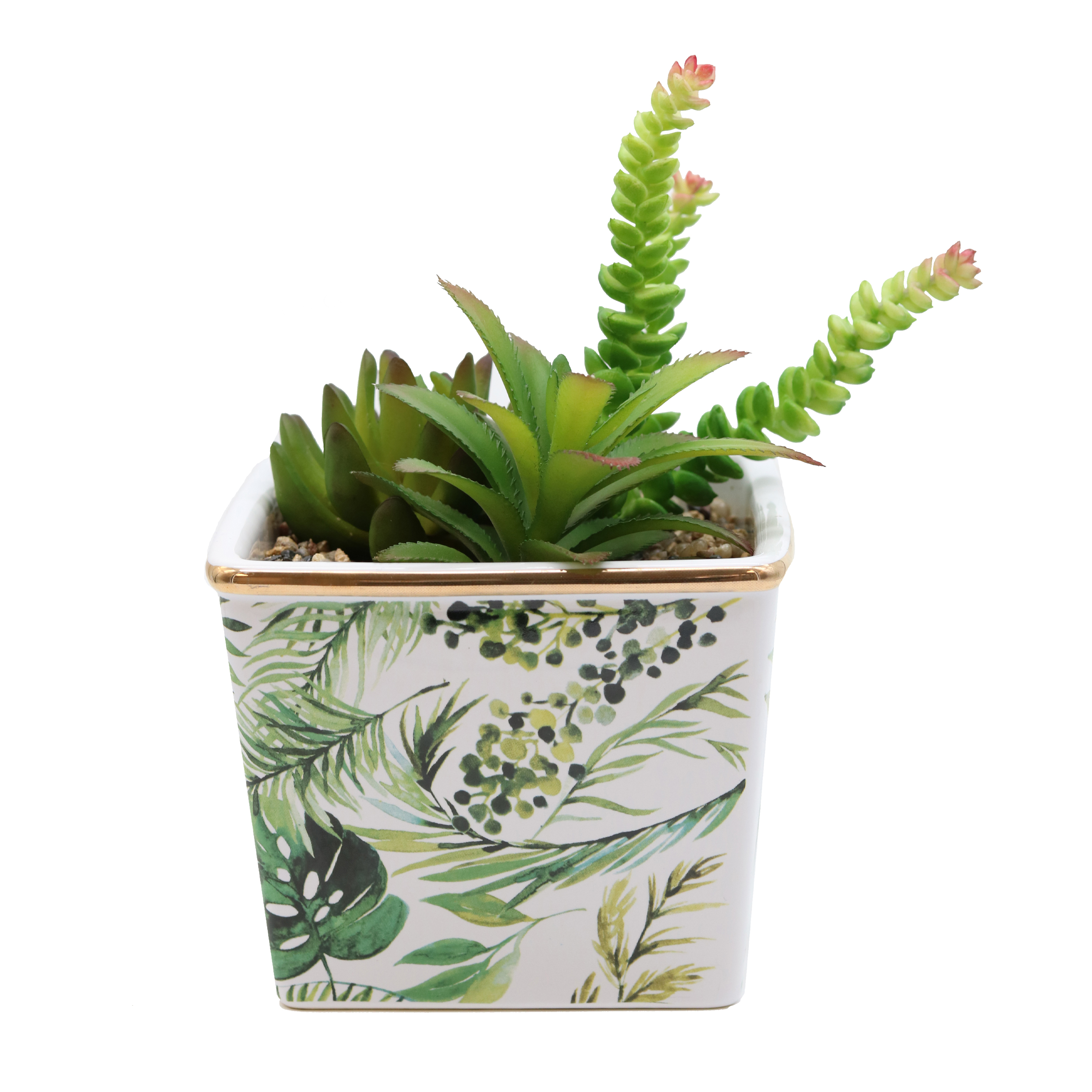 Succulentes artificielles pot céramique jungle + liseré doré 17cm