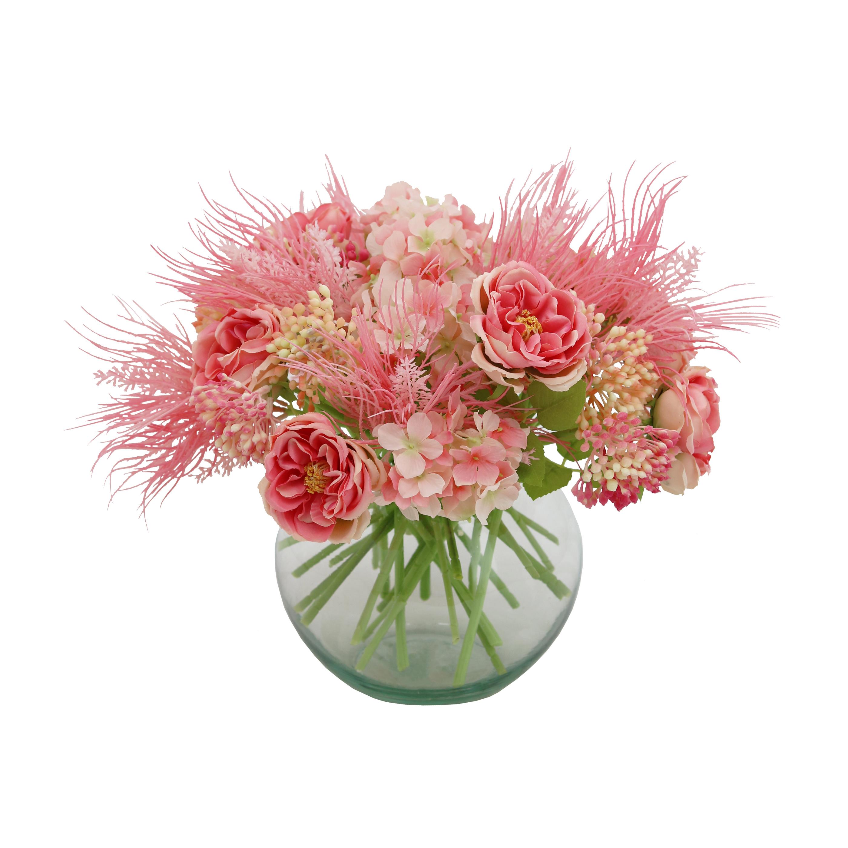 Bouquet champêtre artificiel de 36 tiges de fleurs roses 25cm