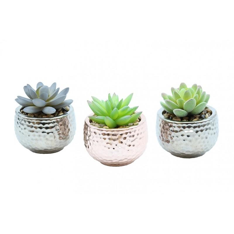 3 succulentes artif argent/cuivre 8 cm